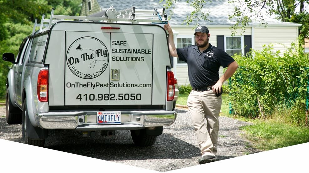 On The Fly Pest Solutions professional employee next to his company work truck with company information